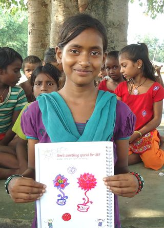 Babita with her gift for sponsor