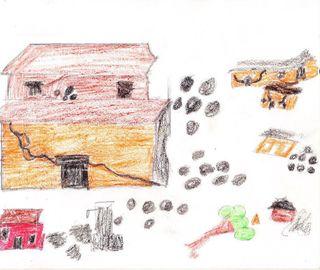 Child drawing earthquake