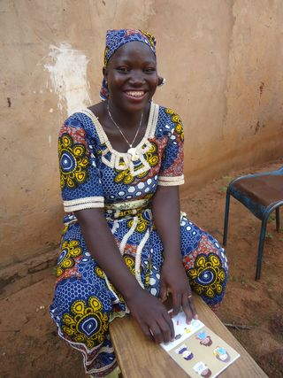 Safiatou working on the last correspondence for her sponsor